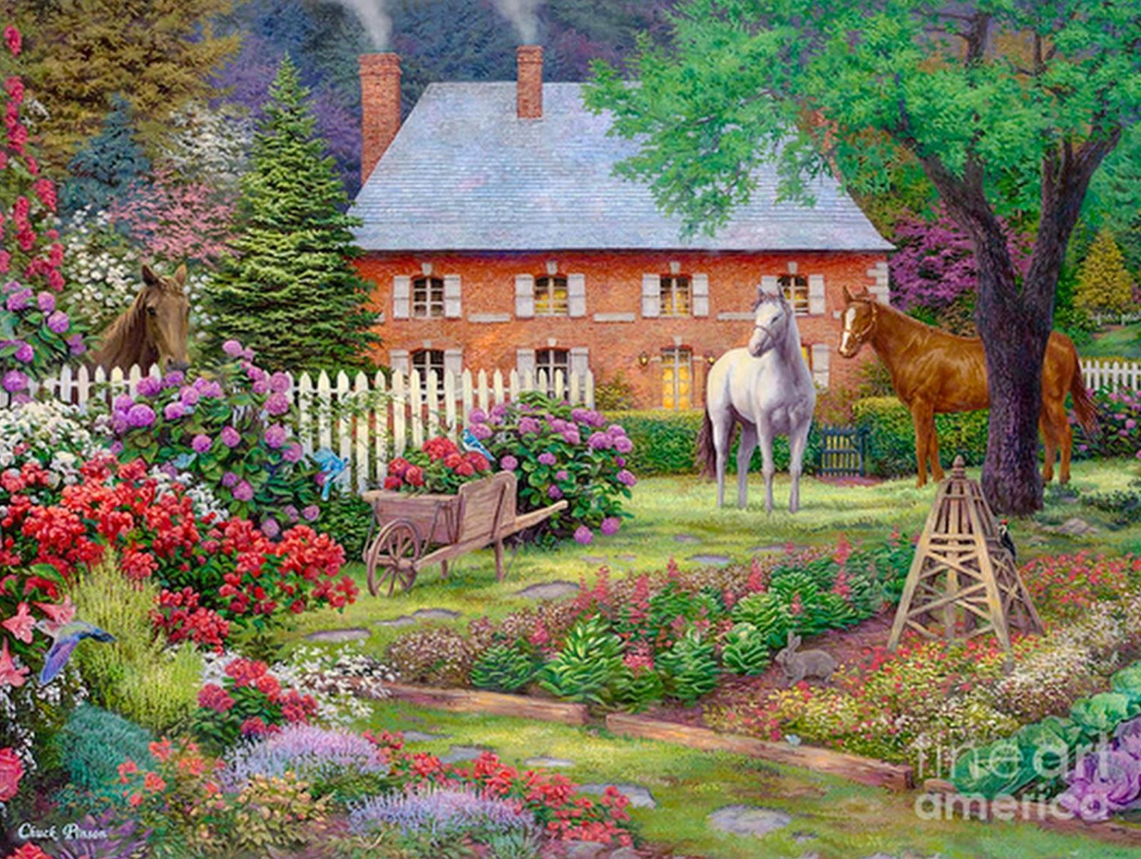 Cuadros modernos pinturas y dibujos hermosos paisajes al for Jardines murales