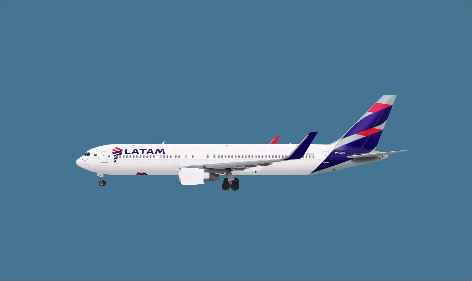 FSRepainter: TRAFFIC AI AI Aardvark 767-300ERW LATAM Brazil PT-MSY