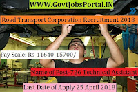 Karnataka State Road Transport Corporation Recruitment 2018-726 Technical Assistant