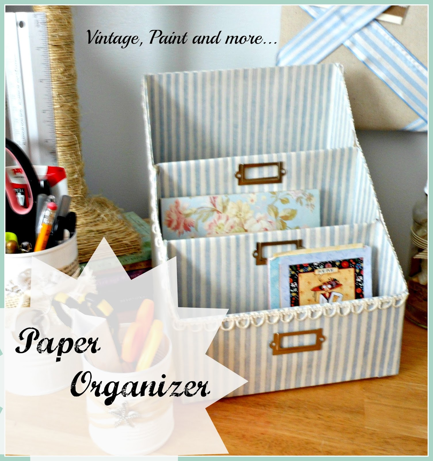 Vintage, Paint and more... DIY paper storage from cereal boxes and scrapbook papers