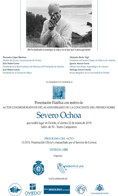 cartel, filatelia, matasellos, sello, Severo Ochoa, Nobel