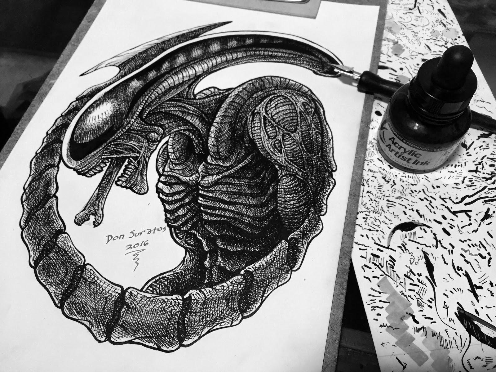 dip pen and indian ink art don suratos art