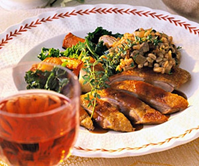 Roasted Duck with Farro Stuffing