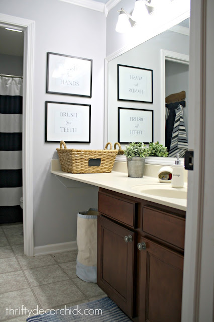 light gray and blue bathroom