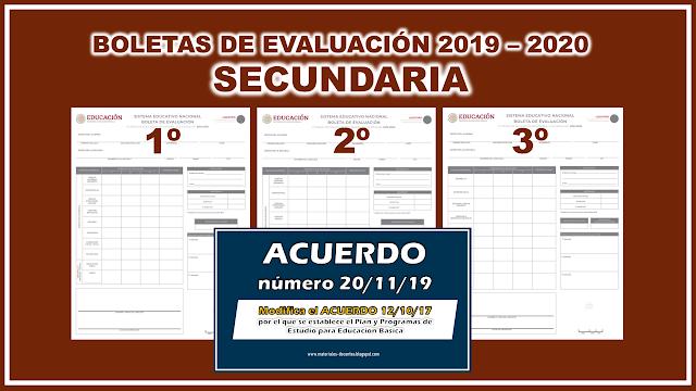 Nuevas Boletas de Evaluación 2019 - 2020 para Secundaria