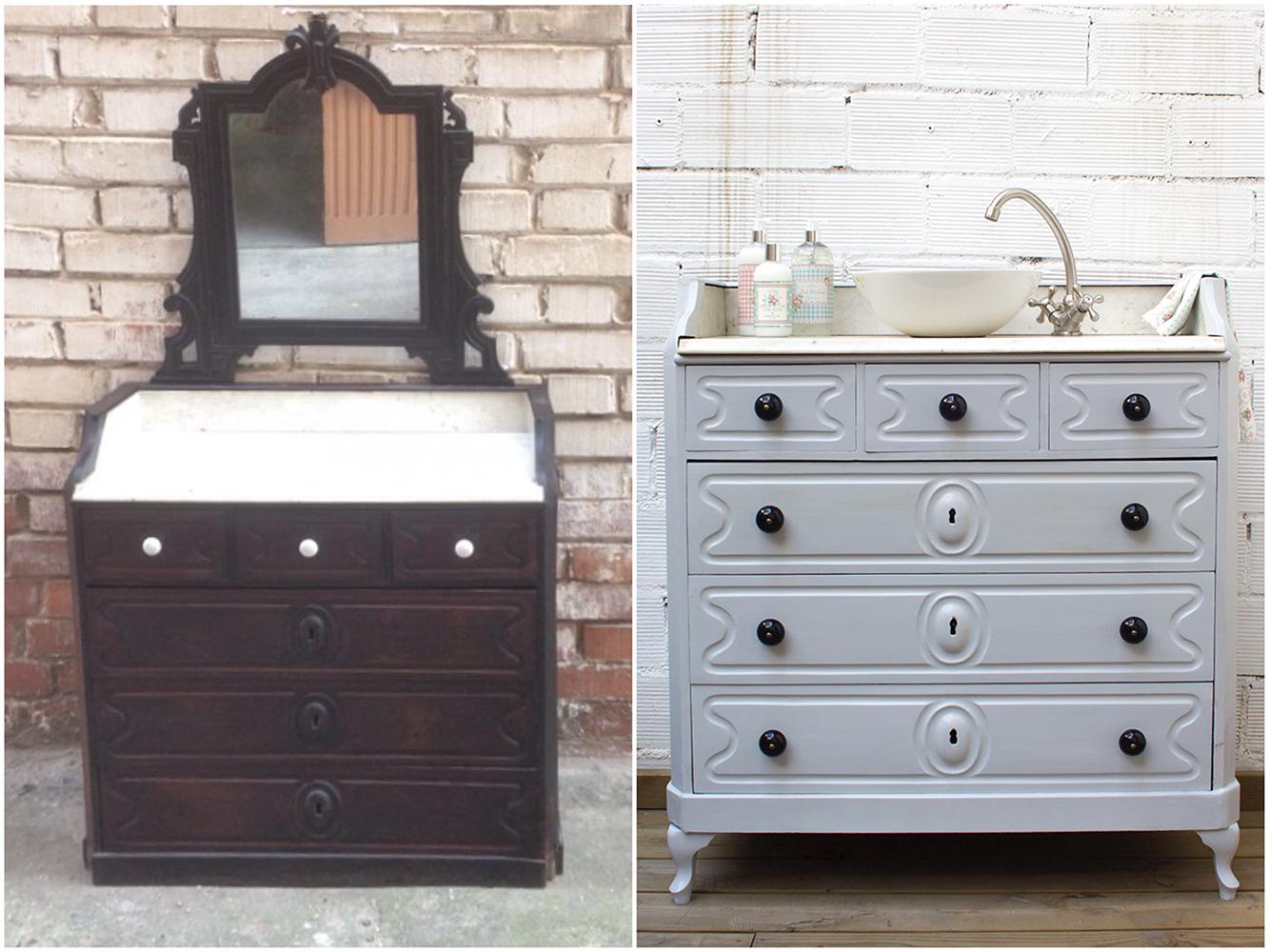 Antes y después - de cajonera a mueble baño - Studio Alis