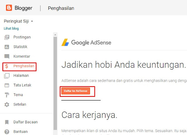 Gambar Menu Penghasilan Google Adsense
