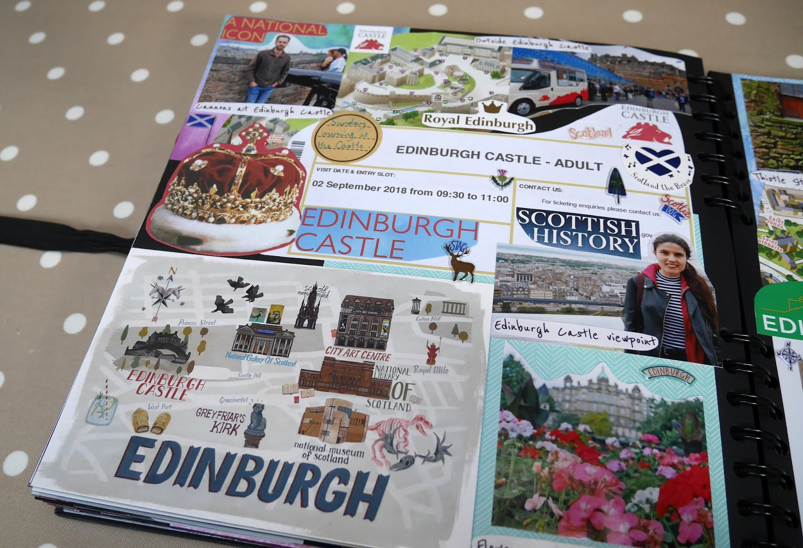 An Edinburgh, Scotland page in my 2018 travel scrapbook