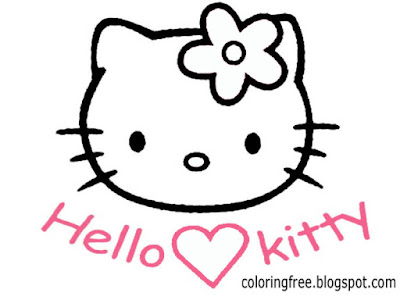 Free clipart pink Hello kitty face colouring book pages delightful printables for young schoolgirls