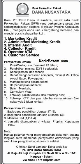 Lowongan Kerja PT. Bank BPR Dana Nusantara