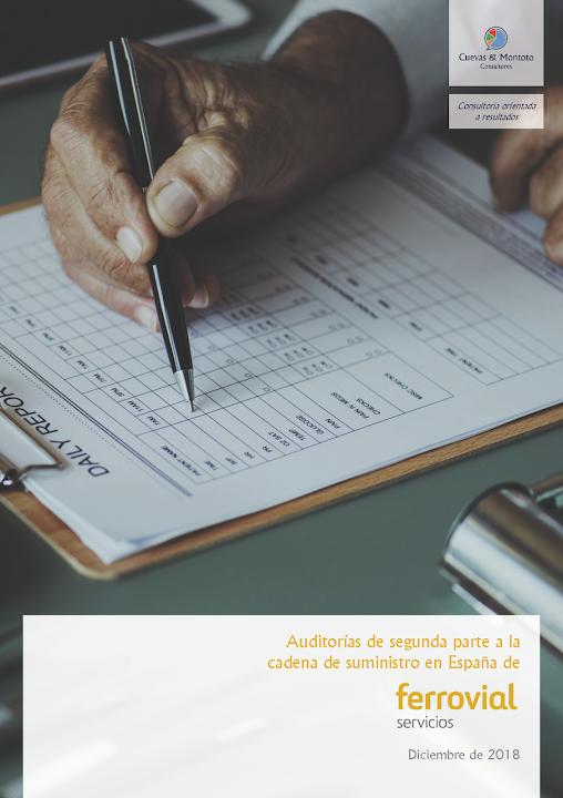 Portada del contrato por el que Cuevas y Montoto Consultores realizará una nueva campaña de auditorías documentales y presenciales de segunda parte a proveedores críticos de Ferrovial Servicios