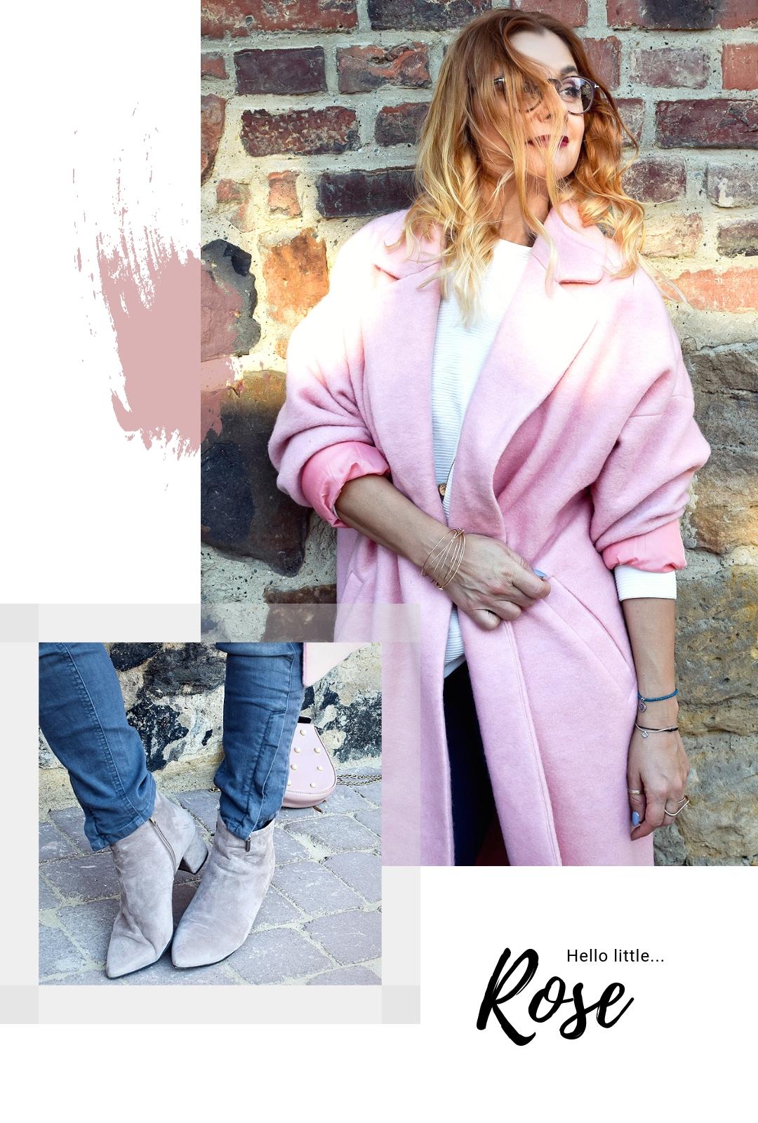 steingraue Jeans und Rosa Mantel, Oversize Mantel in Rosa