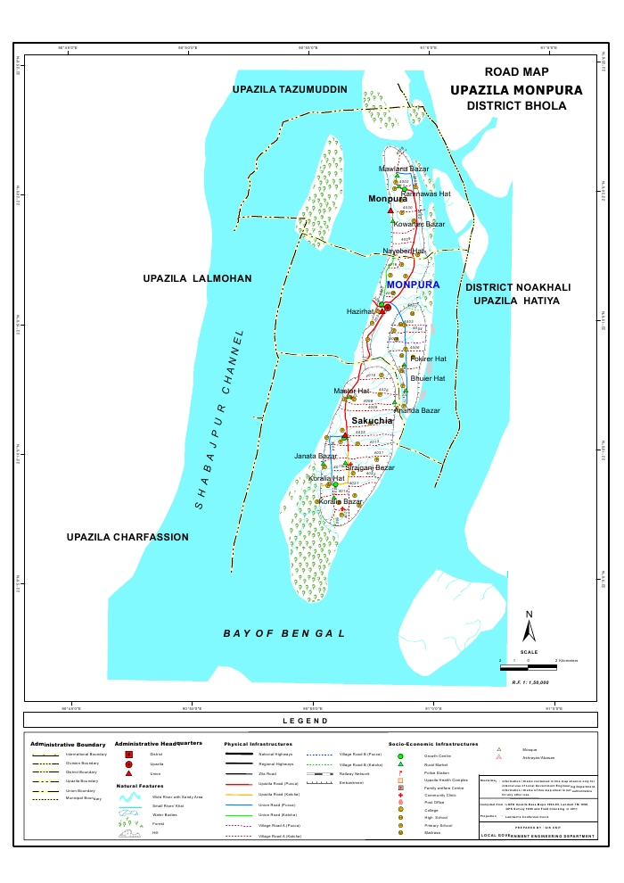 Monpura Upazila Road Map Bhola District Bangladesh