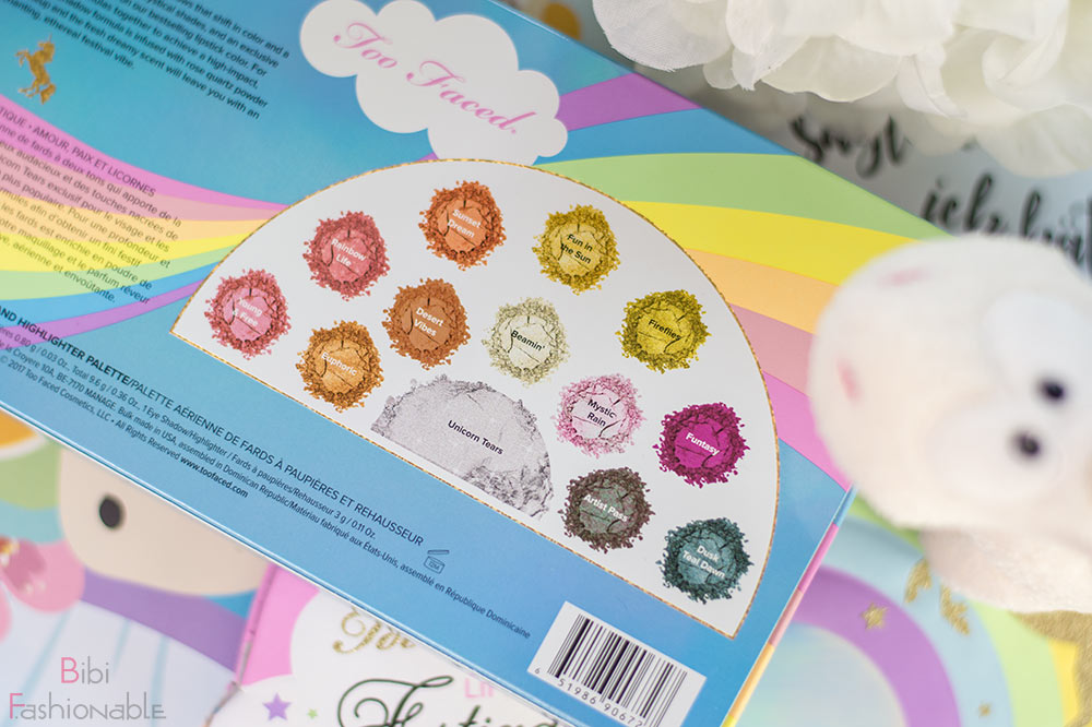 Too Faced Life's a Festival Ethereal Eye Shadow Highlighter Palette Farbbezeichnungen