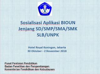 Sosialisasi Aplikasi BIOUN SD/SMP/SMA/SMK/SLB/UNPK 2019