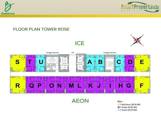Floorplan View Apartemen B Residence BSD City 3 Menit ke Mall AEON www.rumah-hook.com