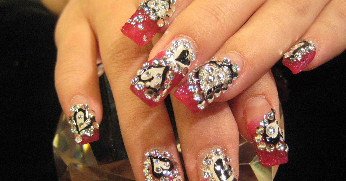 Bedazzled Hearts Nail Art | Nailic