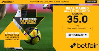 betfair supercuota Real Madrid gana al Valladolid 3 noviembre