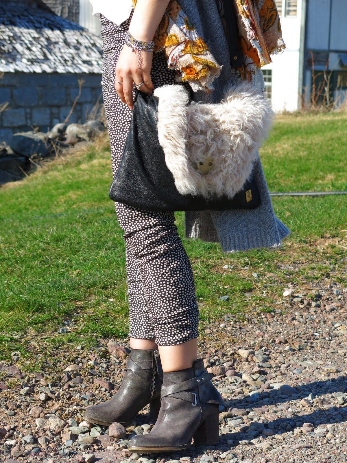 dotted skinnies, slouchy tee, long cardigan, booties, and accessories