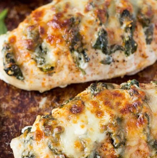 SPINACH + GOAT CHEESE HASSELBACK CHICKEN #Dinner #RecipeBox