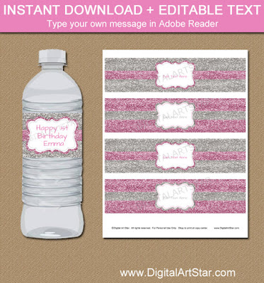 1st birthday pink and silver glitter water bottle labels