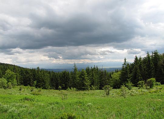 Widok z Kucałowej Przełęczy na południe, na wzniesienia Orawy i Podhala, zwieńczone ścianą Tatr.