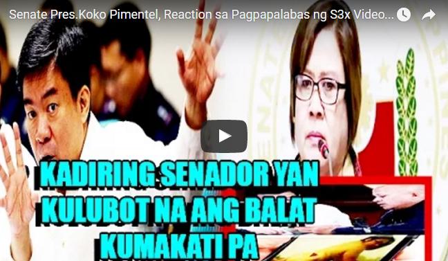 Senate Pres.Koko Pimentel, Reaction sa Pagpapalabas ng S3x Video ni De Lima sa Senate