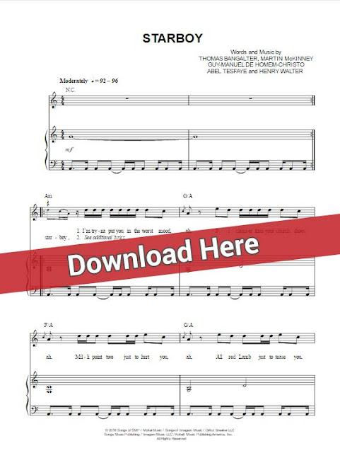 the weeknd, starboy, sheet music, piano notes, chords, download, print, daft punk, keyboard, klavier noten, tutorial, lesson, guitar, voice, vocals