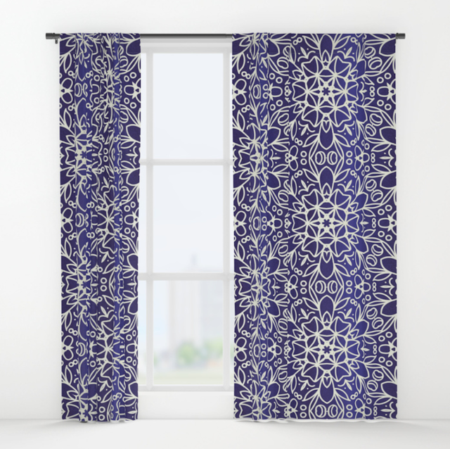 Midnight Flowers Pattern Curtains from Society6