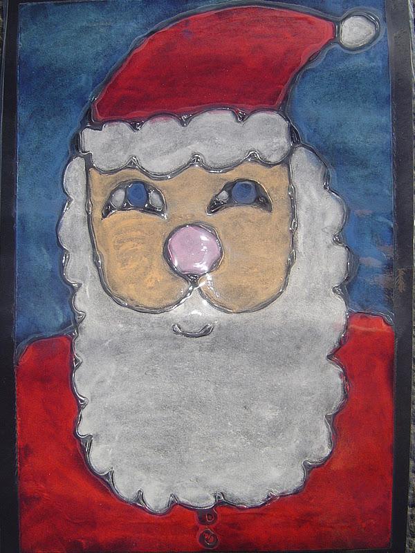 Mrs T S First Grade Class Santa Art
