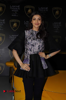 Actress Kajal Aggarwal Stills in Black Dress at Lakme Fashion Week Summer Resort 2017  0007.jpg