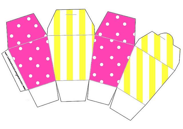 Pink and Yellow Free Printable Chinese Take Away Box.