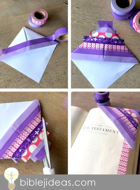 Make a washi tape corner bookmark