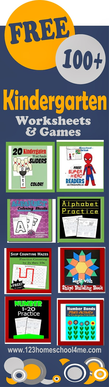 Over 100 FREE Kindergarten worksheets, games, and units #kindergarten #homeschooling