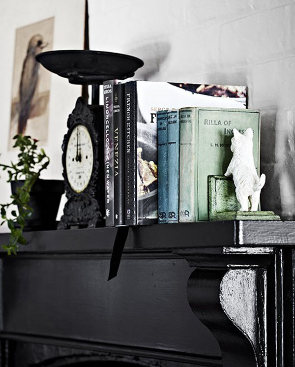 cheminee peinture noir
