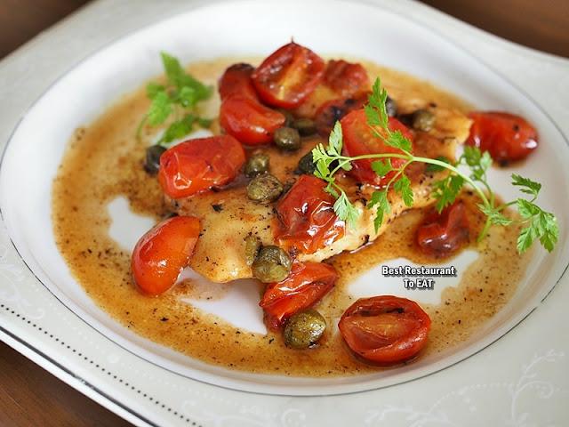 PASSIONE RISTORANTE ITALIANO Menu - Scaloppini Di Pollo Ai Pomodorini & Capperi  - Chicken Breast Pan Seared With Cherry Tomatoes, Capers & White Wine Sauce
