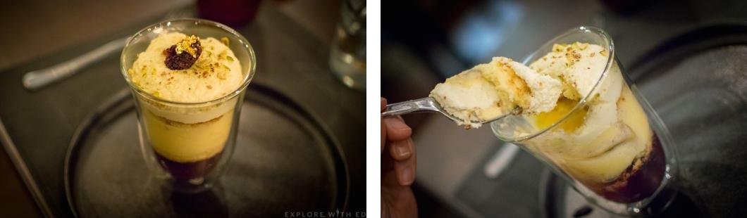 Emperors trifle, gold leaf dessert, Larkin Cen dessert
