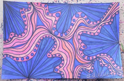 A pen and ink doodle meditation in blues and oranges and a blurb about kangaroo words.