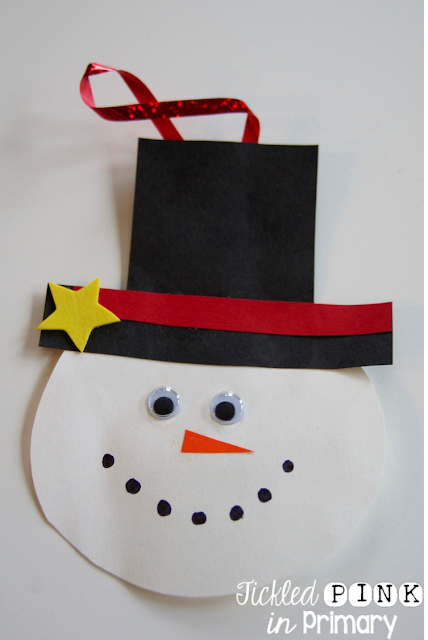 Parent Christmas Gifts - easy paper snowman ornament craft!