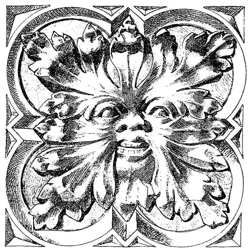 an old European architectural ornament, a grotesque face
