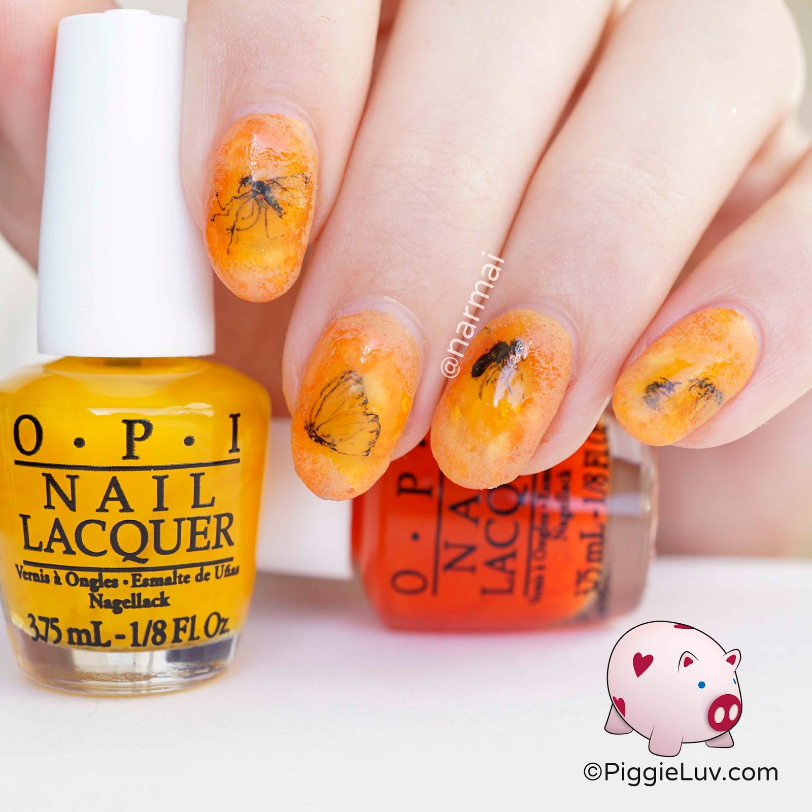 PiggieLuv: Insects in amber nail art