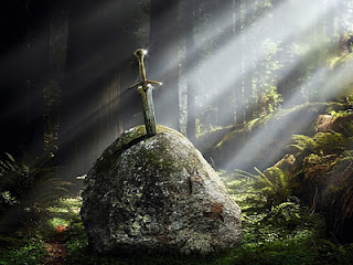 Excalibur Sword in the Stone, King Arthur Legend, as seen on linenandlavender.net - http://www.linenandlavender.net/2013/05/magic-and-merlin-archetype.html