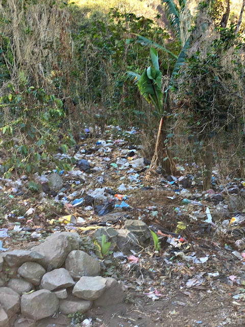Trash on the mountainside in Guatemala - How Guatemala taught me to really love my neighbor
