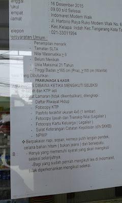 Lowongan Kerja Indomaret Tangerang