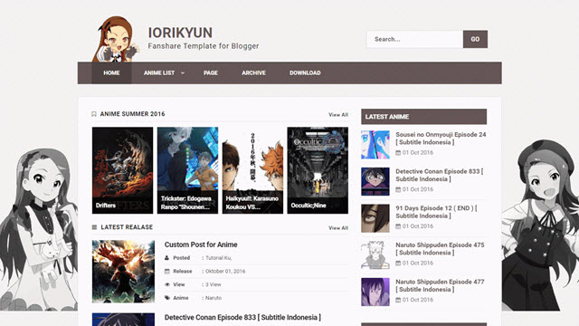 Iori Kyun Blogger Template