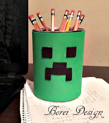 How to Make A Recycled Minecraft Creeper Fan Desk Organizer Pen Cup or Can