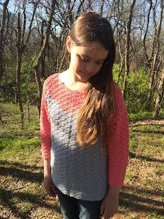 crochet sweater pattern, shell stitch, color blocking, by April Garwood of Banana Moon Studio