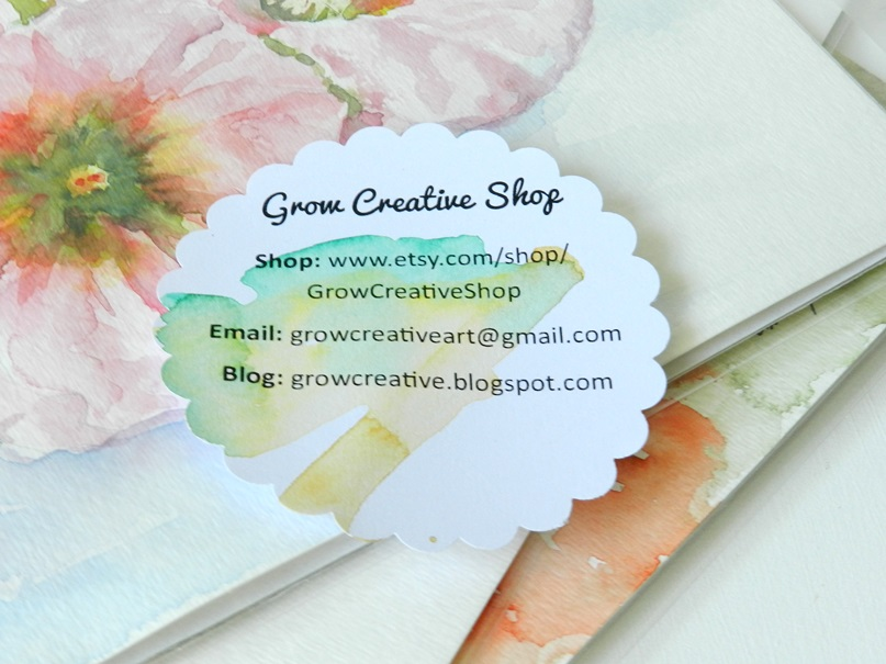 Watercolor Flower Shaped Business Cards: Grow Creative