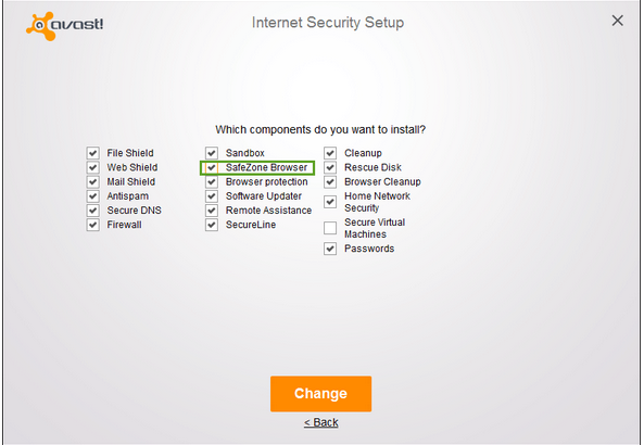 Avast, internet security setup