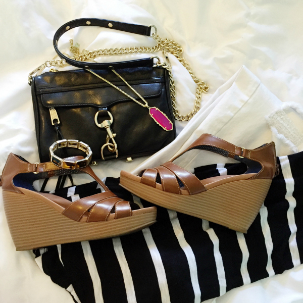 tan wedges, black crossbody